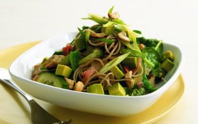 Avocado, pickled ginger, tofu and soba-noodle salad